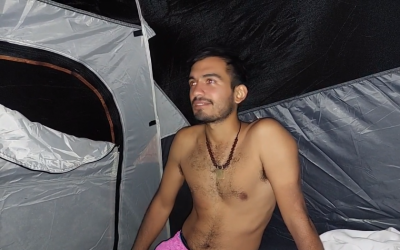 Day 26: Time to rest after a hot day. Nick takes a shower and pitches a tent
